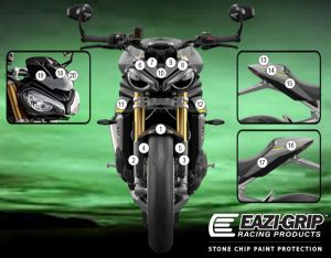 Eazi-Guard Paint Protection Film for Triumph Speed Triple 1200 RS, gloss or matte