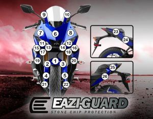 Eazi-Guard Paint Protection Film for Yamaha YZF-R3 2019, gloss or matte