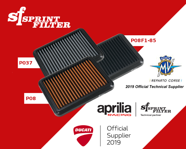 Sprint Filter technical partners - Ducati, Aprilia Racing, MV Agusta Corse